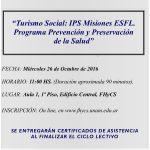"""""""Turismo Social: IPS Misiones ESFL. Programa Prevención y Preservación de la Salud"""""""