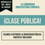 Se realizará una clase pública en defensa de la universidad en el mástil de Posadas