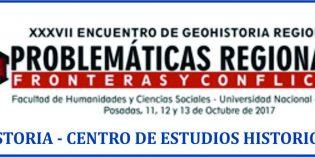 """Primera circular del """"XXXVII Encuentro de Geohistoria Regional. Problemáticas regionales: fronteras y conflictos"""""""
