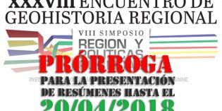 Prorrogan entrega de resúmenes para el Encuentro de Geo Historia Regional