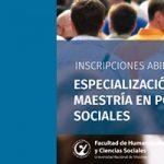 Maestría y Especialización en Políticas Sociales abren sus inscripciones