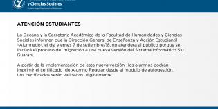 El viernes 7 de septiembre Alumnado no atenderá al público por migración a nueva versión del Siu Guaraní