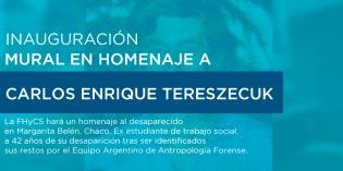 La FHyCS hará un homenaje a Carlos Tereszecuk víctima de la última Dictadura Cívico Militar