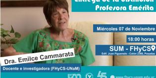 Distinguirán a la Dra. Cammarata como Profesora Emérita de la UNaM