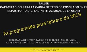 """Reprograman el Taller """"Capacitación para la carga de tesis de posgrado en el repositorio digital institucional de la UNaM"""""""