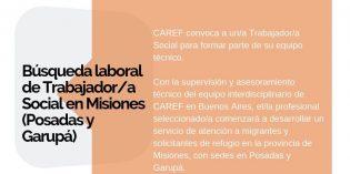Caref convoca a trabajadores sociales para formar parte de su equipo técnico en Posadas y Garupá.