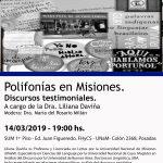 """Invitan a la Conferencia: """"Polifonías en Misiones. Discursos testimoniales"""""""