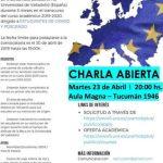 Realizarán charla sobre Becas Erasmus en la FHyCS