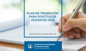 Se aprobó el Plan de transición para Postítulos Docentes 2019 en la FHyCS