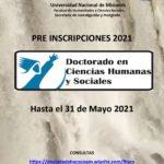 Pre-Inscripción 2021 para el Doctorado en Ciencias Humanas y Sociales